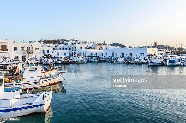 beautiful harbor of naoussa, paros island, greece - islas cícladas fotografías e imágenes de stock
