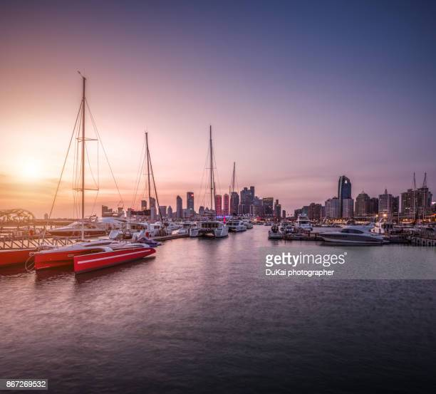 beautiful harbor skyline of qingdao - shandong province stock pictures, royalty-free photos & images