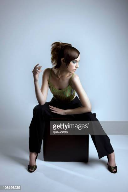 beautiful haute couture fashion model, full body - diva human role stock photos and pictures