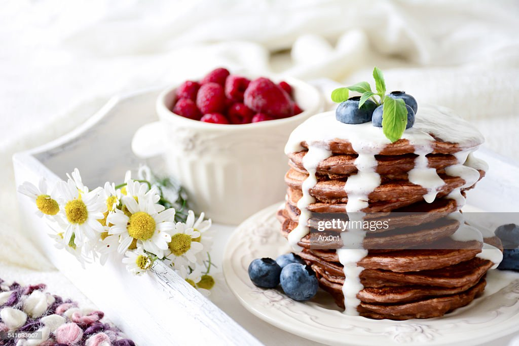 Beautiful Healthy Breakfast In Bed On Trayine High Res Stock Photo Getty Images