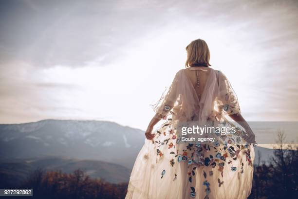 beautiful hippie woman - hippie woman stock photos and pictures