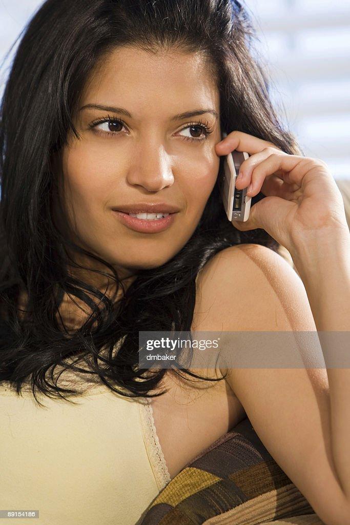Beautiful Hispanic Latina Woman Talking On Cell Phone : Stock Photo