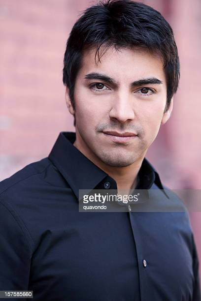 beautiful hispanic young man fashion model portrait, copy space - handsome mexican men stock pictures, royalty-free photos & images