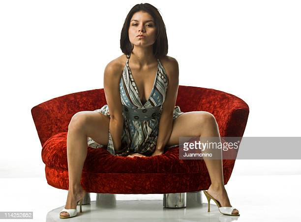 beautiful hispanic young woman - woman open legs stock photos and pictures
