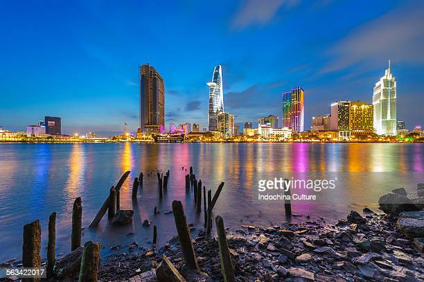 Beautiful Ho Chi Minh City Skyline at blue hour