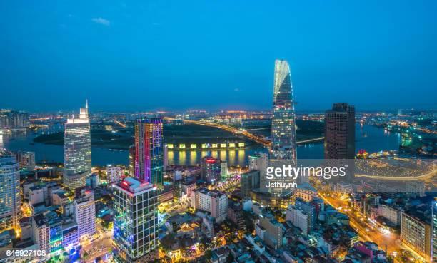 Beautiful Ho Chi Minh City Skyline riverside blue hours at night