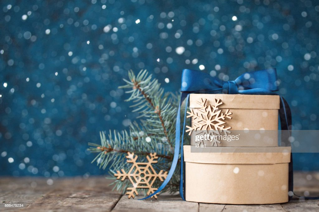 Beautiful holiday decorated background with christmas gift boxes ,fir. christmas holiday concept : Stock Photo