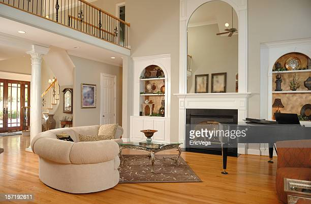 beautiful home interior - grand piano stock pictures, royalty-free photos & images