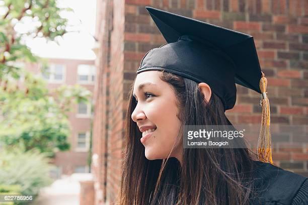 Beautiful Hopeful Milennial American Hispanic Women Celebrating Graduation Day USA