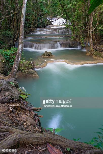 beautiful huai mae khamin waterfall in kanchanaburi province, thailand - falling water stock photos and pictures