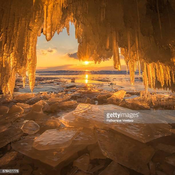 Beautiful ice cae at Baikal Lake in the winter