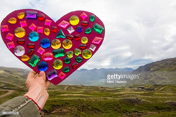 beautiful iceland vista with heart and gems - rhinestone stock pictures, royalty-free photos & images