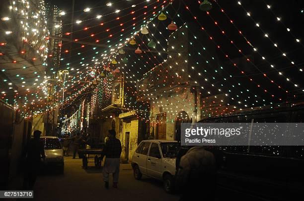 RAWALPINDI PAKISTAN RAWALPINDI PUNJAB PAKISTAN A beautiful illuminated view of Mosque and street decorated with lights in connection of 12th...