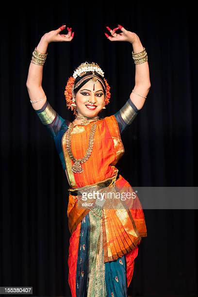 beautiful indian kuchipudi dancer performing on stage - traditional clothing stock pictures, royalty-free photos & images