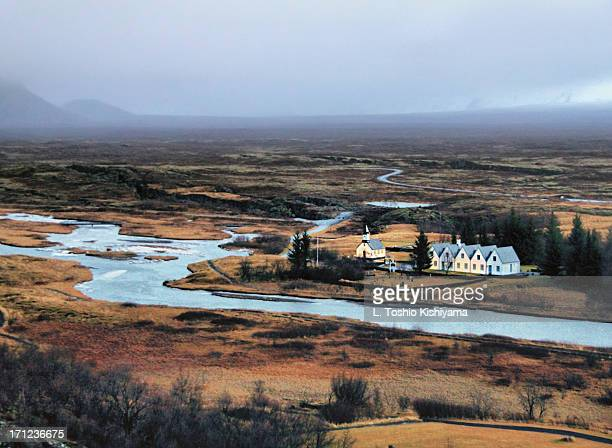 beautiful þingvellir national park in iceland - thingvellir national park stock photos and pictures