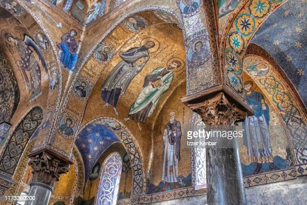 beautiful interior of the santa maria dell'ammiraglio church in palermo, sicily italy - byzantine stock pictures, royalty-free photos & images