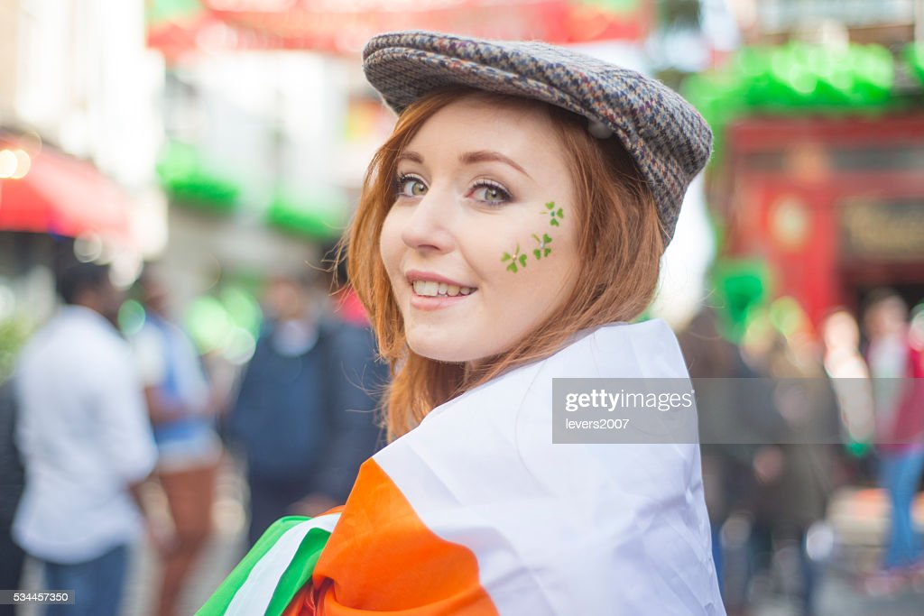 Beautiful Irish girl on St. Patricks Day, Dublin, Ireland. : Stock Photo