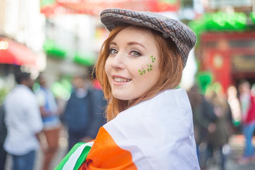 Beautiful Irish girl on St. Patricks Day, Dublin, Ireland. 534457350