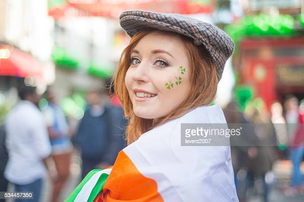 beautiful irish girl on st. patricks day, dublin, ireland. - dublin stock pictures, royalty-free photos & images