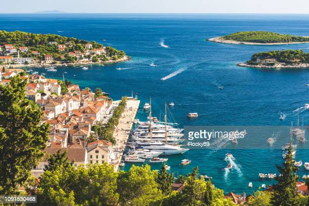beautiful island and town of hvar, croatia - hvar stock photos and pictures