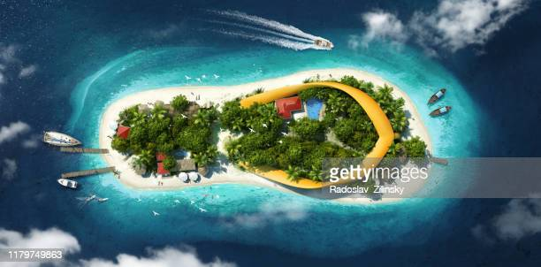 beautiful island in a shape of flip flop - island stock pictures, royalty-free photos & images