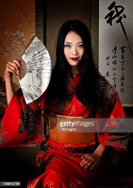 美しい日本のゲイシャ、紙のファン