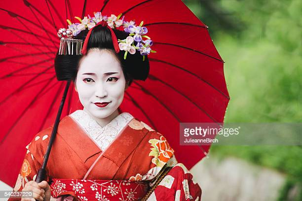 Beautiful Japanese lady with parasol