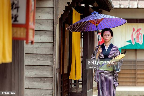 Beautiful japanese woman with kimono in Kyoto, Japan