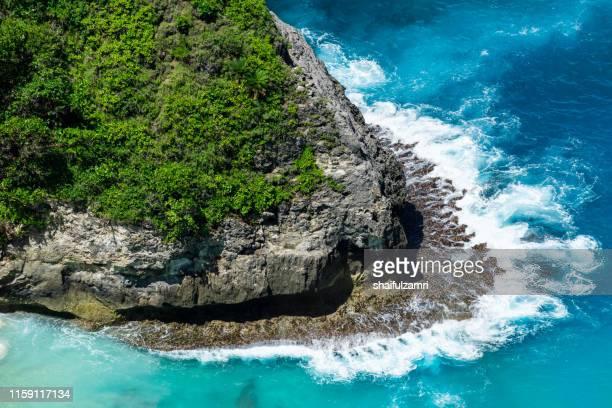 beautiful kelingking beach and cliffs in nusa penida, bali, indonesia - shaifulzamri stock pictures, royalty-free photos & images