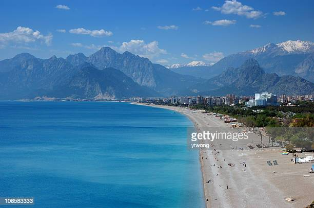 beautiful konyaalti beach in antalya, turkey - antalya province stock pictures, royalty-free photos & images