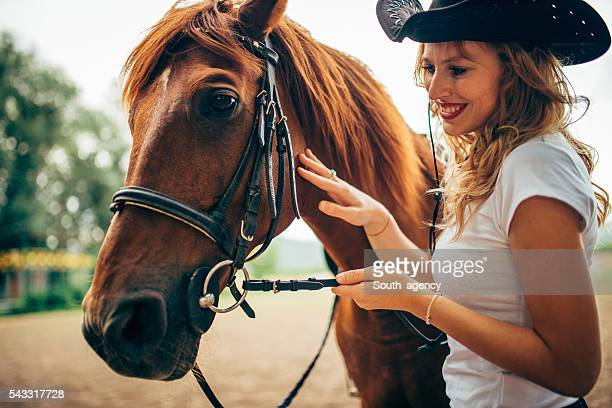 Beautiful lady and horse