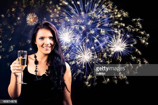 beautiful lady enjoying new year's eve