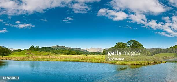 Beautiful lake shore tranquil mountain vista
