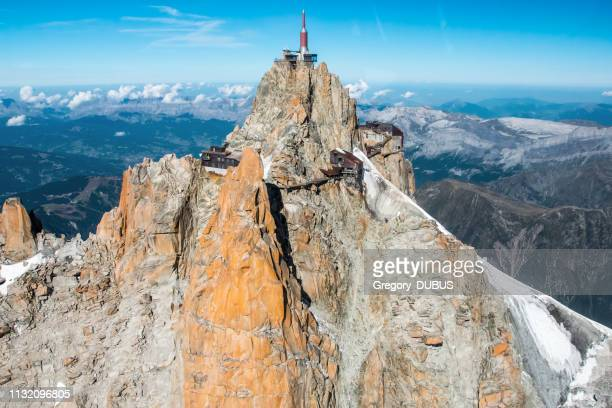 beautiful landscape aerial view of aiguille du midi from mont blanc massif in french alps mountains in autumn - auvergne rhône alpes stock pictures, royalty-free photos & images