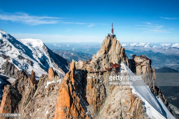 beautiful landscape aerial view of aiguille du midi from mont blanc massif in french alps mountains in autumn - aiguille de midi stock photos and pictures