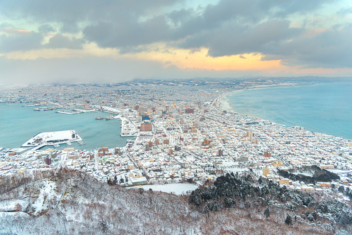 Beautiful landscape cityscape view of Hakodate City view from Mountain Hakodate, winter season ,Hakodate , Hokkaido, Japan - gettyimageskorea
