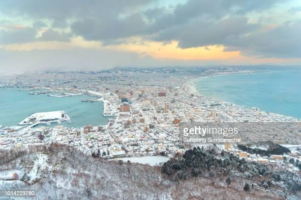 beautiful landscape cityscape view of hakodate city view from mountain hakodate, winter season ,hakodate , hokkaido, japan - land feature stock pictures, royalty-free photos & images