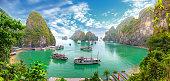 Beautiful landscape Halong Bay view from adove the Bo Hon Island. Halong Bay, Vietnam