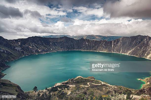 Beautiful landscape of blue waters at Lake Quilotoa in Ecuador