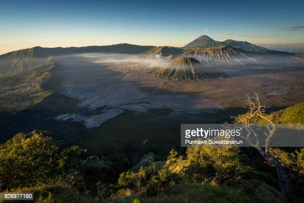 Beautiful landscape of Bromo active volcano mountain in East Java, Indonesia