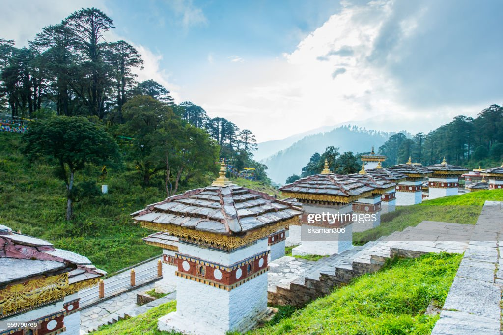 beautiful landscape of Dochula 108 stupa at Dochula pass Bhutan : Stock-Foto