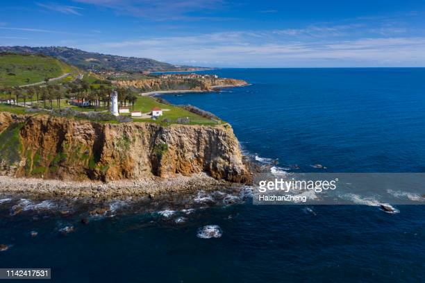 beautiful landscape of point vicente lighthouse. rancho palos verdes, california - catalina island stock photos and pictures