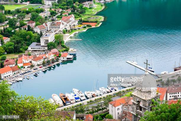 beautiful landscape of the kotor bay from the peak of lovchen mountain in kotor, montenegro. natute background. bay of kotor bay is one of the most beautiful places on adriatic sea. - kotor bay stock pictures, royalty-free photos & images