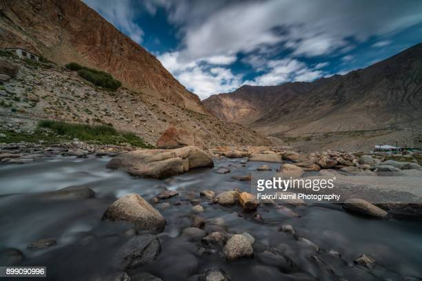 Beautiful landscape of the river in Leh Ladakh, North of India.