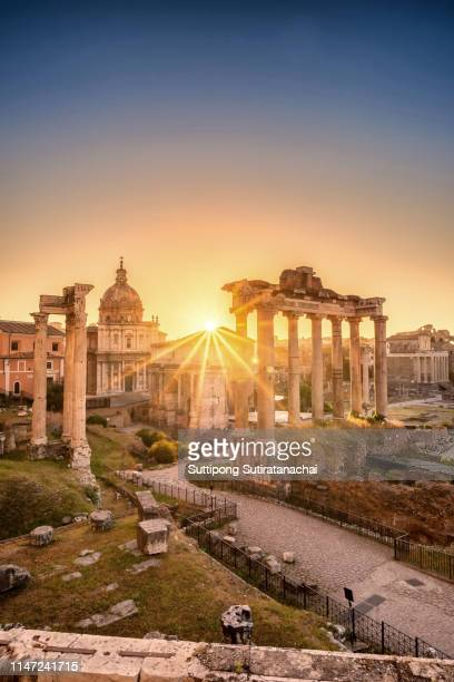 beautiful landscape sunrise view of roman forum ruin. image of roman forum in rome, italy during sunrise. - rome italy stock pictures, royalty-free photos & images