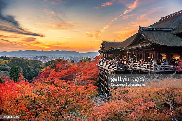 Beautiful landscape view of autumn season with red and yellow colorful maple tree in Kiyomizu dera temple