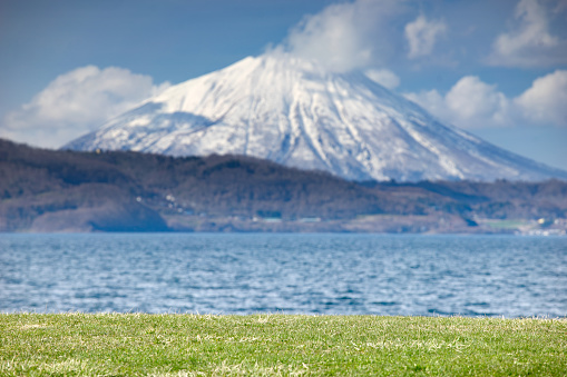 Beautiful landscape view of little fuji Mountain Yotei and Lake Toya near noboribetsu Hokkaido Japan - gettyimageskorea