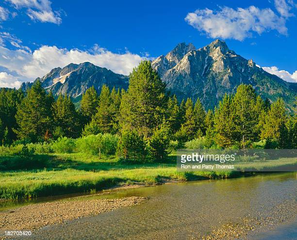 beautiful landscape view of saw tooth range - national forest stock pictures, royalty-free photos & images