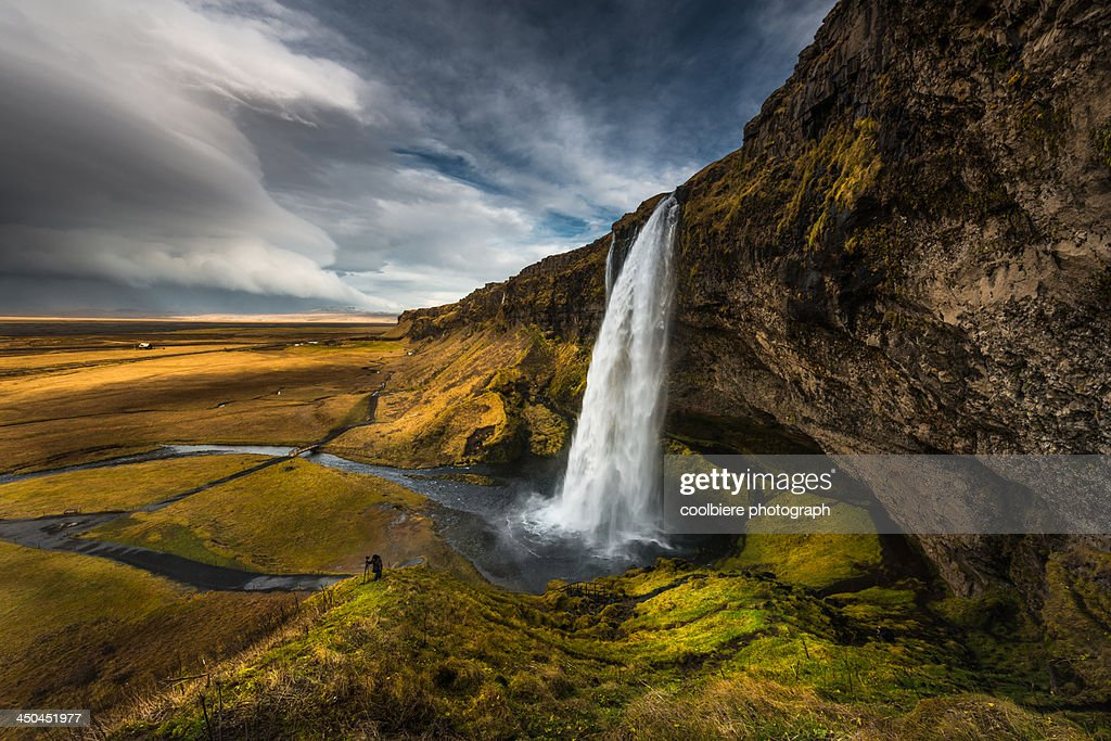 Beautiful landscape view of Seljalandsfoss : Stock Photo