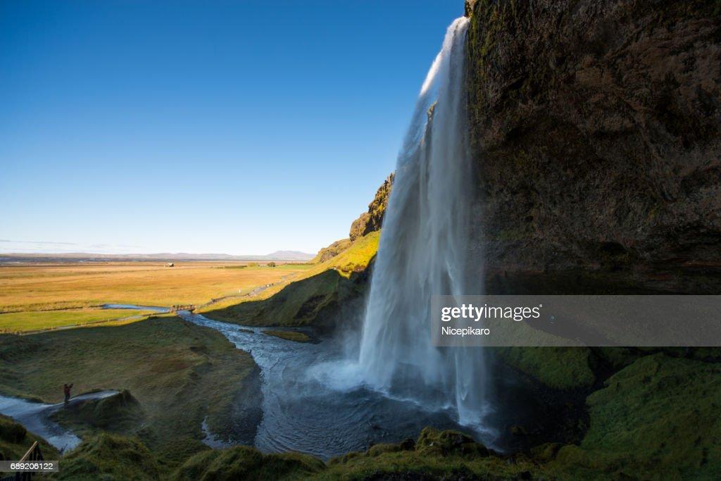Beautiful landscape view of Seljalandsfoss : Foto de stock